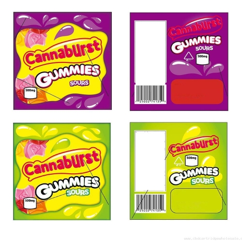 New Cannaburst Gummies Mylar Edibles Bags Empty Ziplock Packaging Only