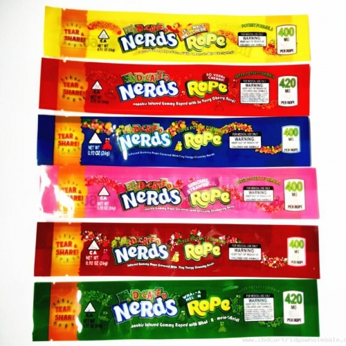 wholesale Nerds Rope Empty edge-sealing Gummy Packaging Edibles Bags Only