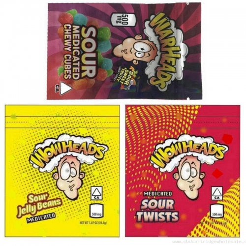 2020 New Warheads Bags 500mg Medicated Sour Twists Jelly Beans Chewy Cubes